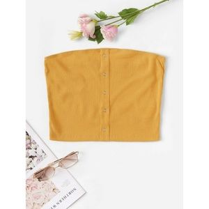 Mustard Yellow Tube Top with Front Snap Detail